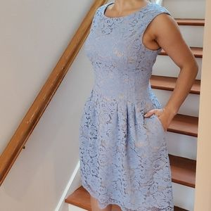 Vince Camuto Lined Blue Lace Fit & Flare Dress